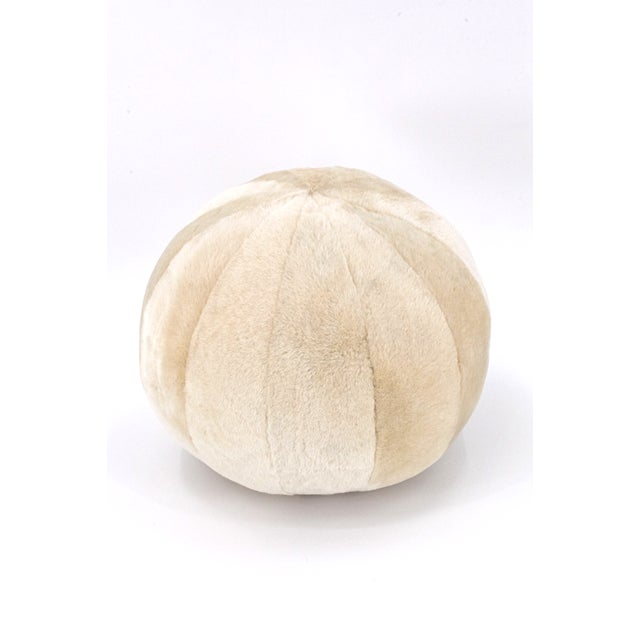 Contemporary Beige Merino Sheepskin Ball Pillow by Tasha Tarno For Sale - Image 3 of 3