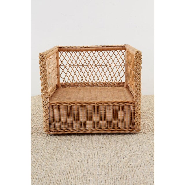 White Pair of McGuire Rattan Wicker Lounge Chairs With Ottoman For Sale - Image 8 of 13