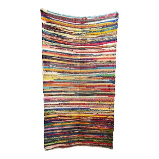 Multicolor Handmade Sustainable Textile Woven Rug For Sale