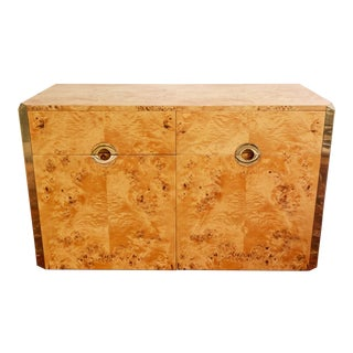 Burl Wood and Brass Credenza Sideboard Style of Pierre Cardin For Sale