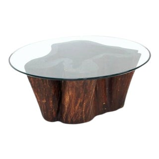 Organic Modern Carved Hollow Stump Coffee Table For Sale