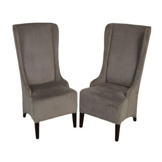 Safavieh Classic Modern Style Pair Becall Grey High Back Chairs For Sale