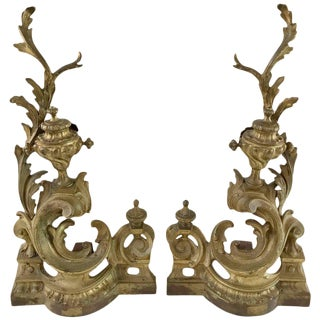 Louis VX Style Bronze Neoclassical Andirons or Chenets - A Pair For Sale