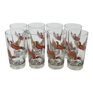 Vintage Red Pheasant Tumblers - Set of 8