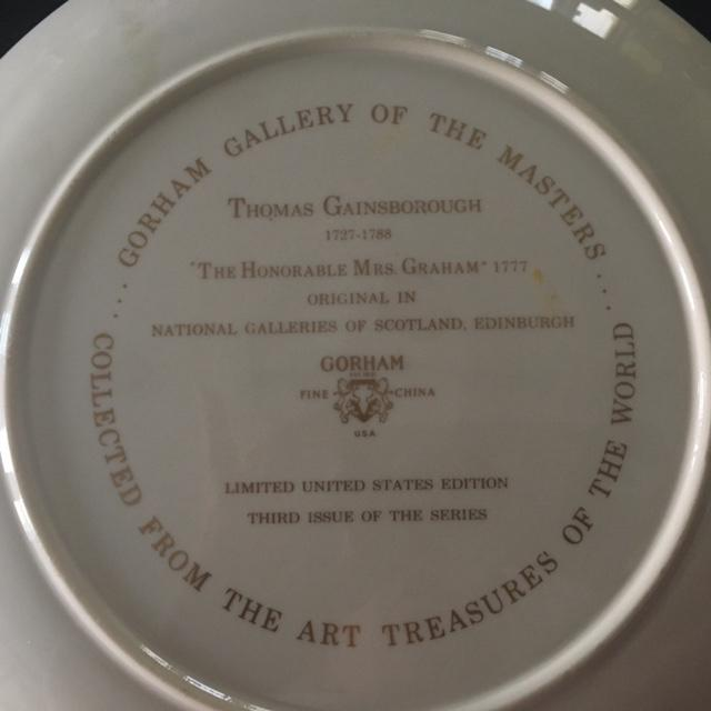 "Gorham Fine China Plate ""The Honorable Mrs. Graham"" - Image 3 of 3"