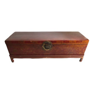 Antique Chinese Red and Gilt Lacquered Martial Arts Storage Trunk on New Stand For Sale