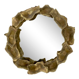 Vintage Brutalist Round Mirror For Sale
