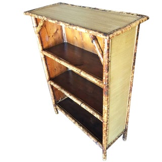 Restored Tiger Bamboo Four-Tier Book Shelf For Sale
