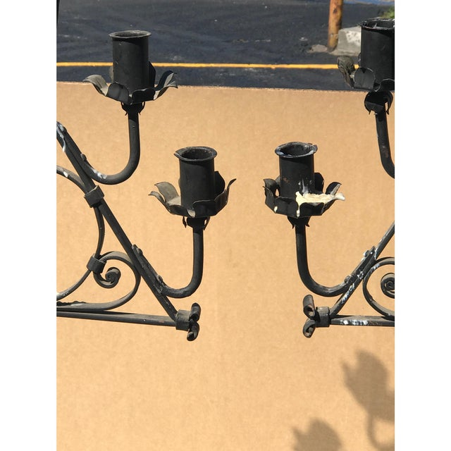 Tomlinson Wrought Iron Candelabras - A Pair For Sale - Image 4 of 5