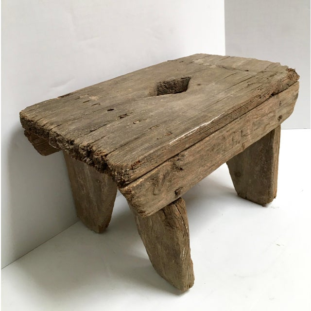Antique Primitive Handcrafted Farm Stool For Sale - Image 4 of 11