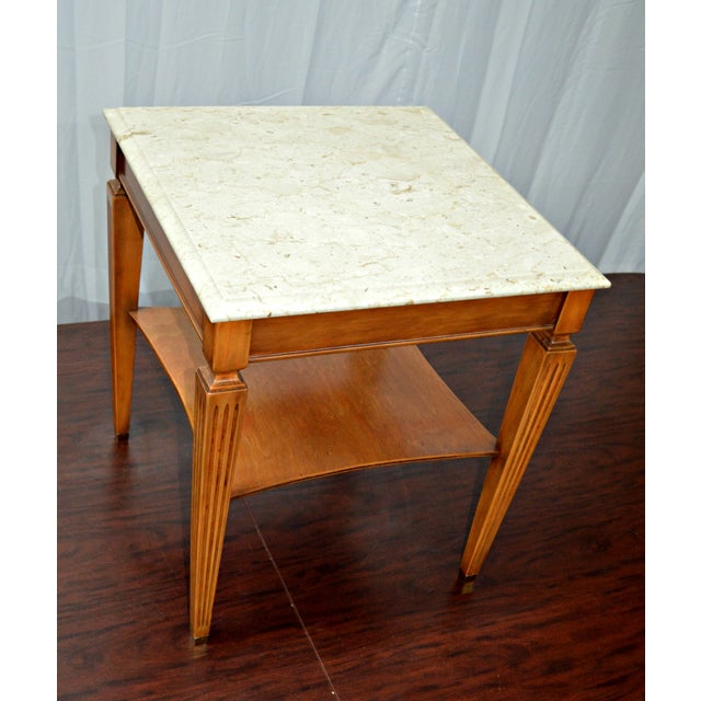 Traditional Square Side Table With Marble Top - Image 2 of 7