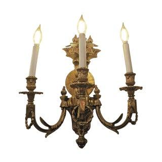 Vintage Waldorf Astoria Heavy Bronze Sconce For Sale