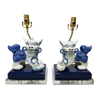 Blue & White Foo Dog Lamps - a Pair For Sale
