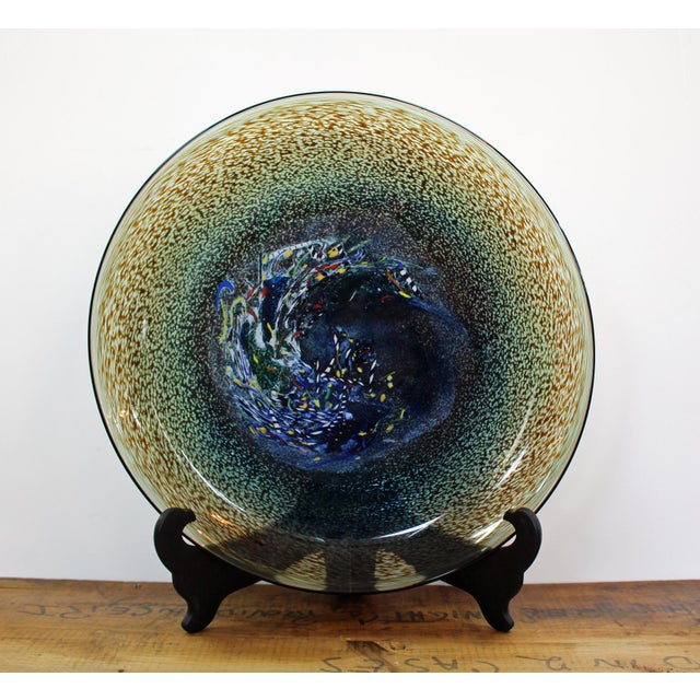 Large pedestal art glass bowl by Kosta Boda. From the artist collection, designed by Swedish glass artist and designer...