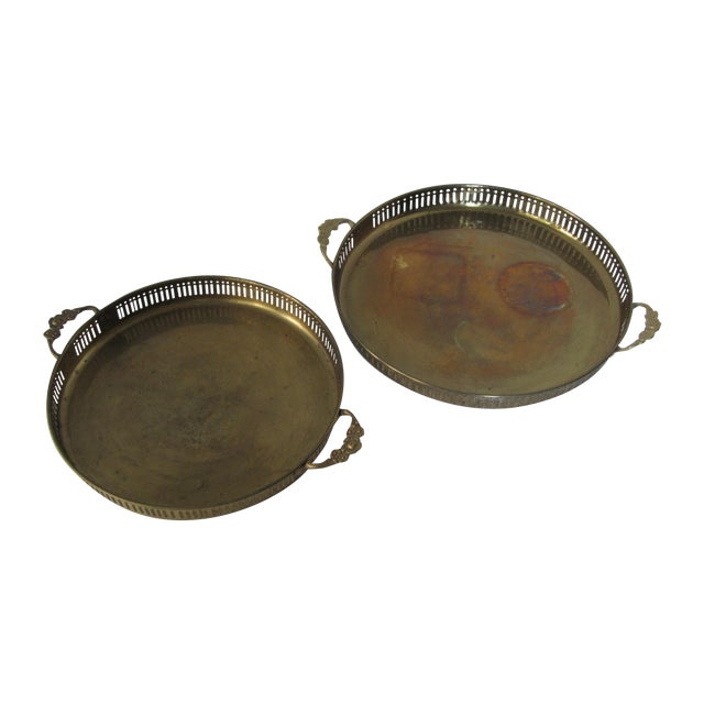 Vintage Round Brass Trays - A Pair - Image 1 of 7