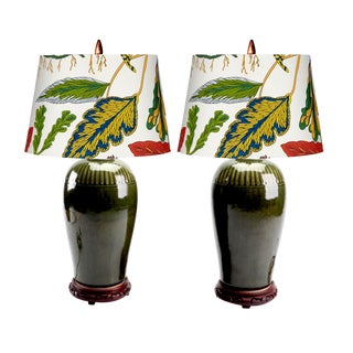 Si Satchanalai Celadon Lamps With Floral Shades - Pair For Sale