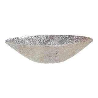 Textured Transparent Glass Bowl For Sale