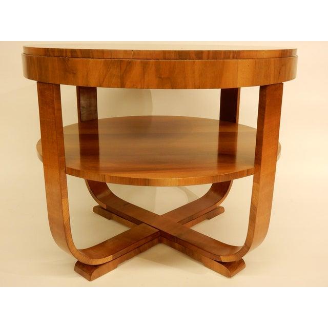 Carefully restored Art Deco walnut 1930's one shelf side table.