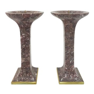 Maitland Smith Tessellated Stone Candlestick Holders - A Pair For Sale