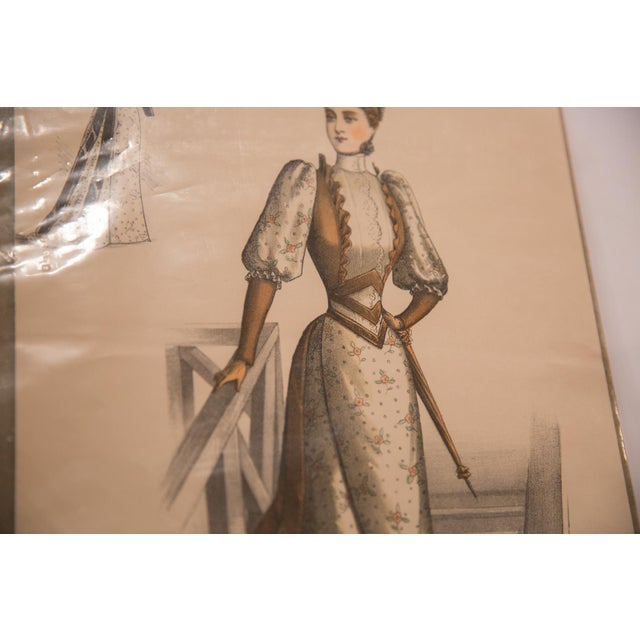 :: Antique fashion print.
