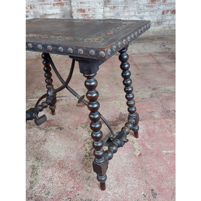 Brown 18th Century Spanish Revival Leather Top Trestle Occasional Table For Sale - Image 8 of 11