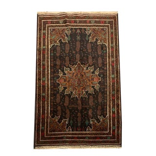 Hand Knotted Balochi Navy Red Brown Gold Floral Pattern Area Rug - 4′2″ × 7′4″ For Sale