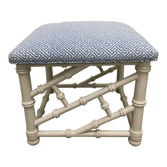 White Faux Bamboo Bench with Quadrille Upholstery For Sale