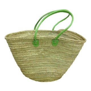 Market Basket With Green Straps For Sale