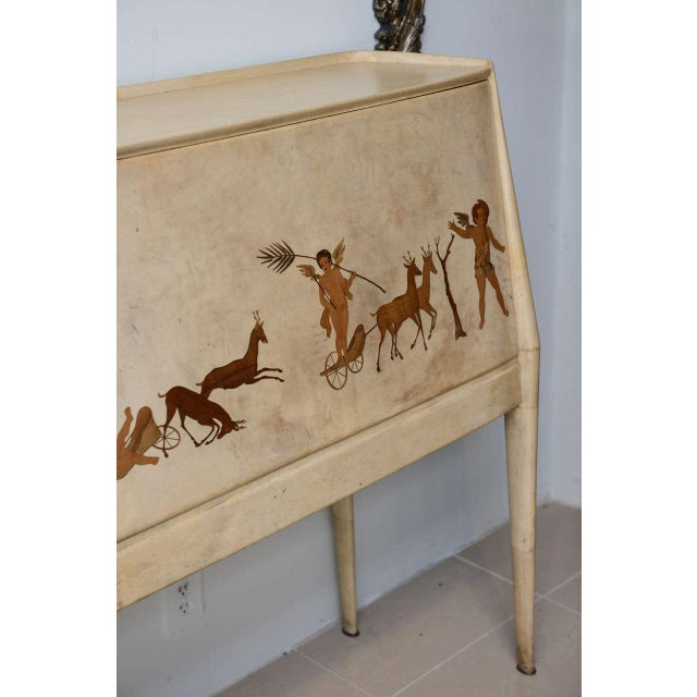 Italian Italian Modern Parchment and Inlaid Mixed Wood Drop Front Desk, Paolo Buffa For Sale - Image 3 of 9