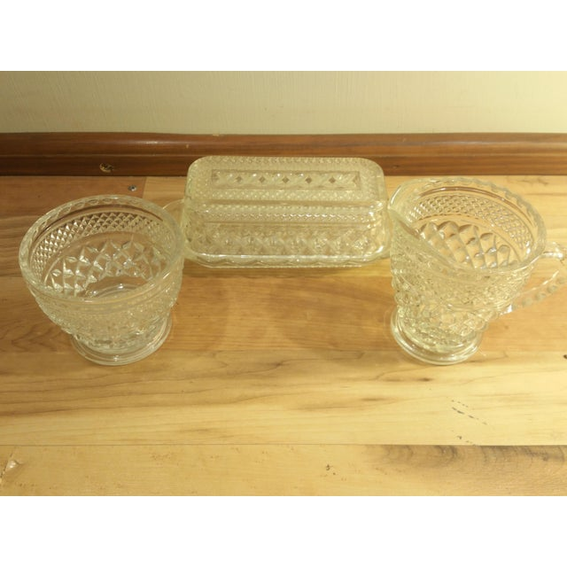 Mid-Century Modern Anchor Hocking Wexford Pattern Butter Dish, Creamer & Sugar Bowl - Set of 3 For Sale - Image 3 of 8
