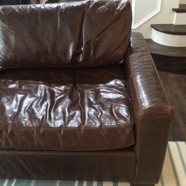 Restoration Hardware Leather Queen Sleeper Sofa - Image 6 of 11