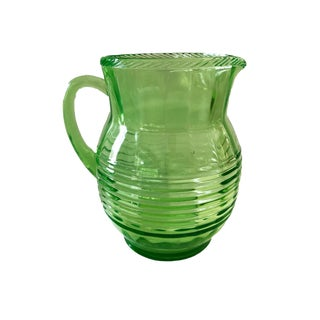 1950's Glass Water Lemonade IceTea Pitcher Retro Green For Sale