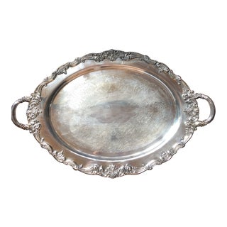 Reed & Barton El Greco Large Silverplated Handled Serving Waiter Tray For Sale