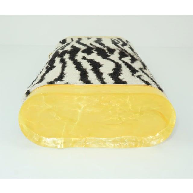 Edie Parker Zebra Print Calf Hair Clutch Handbag With Acrylic Details For Sale In Atlanta - Image 6 of 13