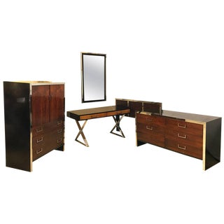 Milo Baughman for W. J. Sloane Bedroom Set Vanity, Dresser, Mirror with Bed For Sale