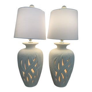 Chinoiserie Hollywood Regency Reed Lantern Urn Table Lamps - a Pair For Sale