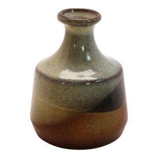 1970s Vintage Pottery Craft Light Gray Bud Vase For Sale