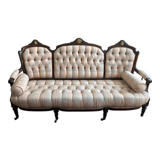 Victorian Tufted Plaid Sofa