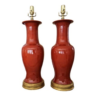 1950s Large Chinese Burnt Orange Porcelain Table Lamps - a Pair For Sale