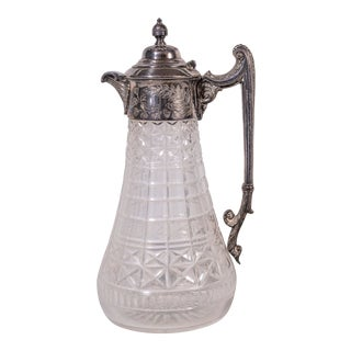 Late 19th Century Silver Plate and Crystal Carafe Decanter For Sale