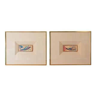 Post Modern Abstract Watercolor Paintings Framed - a Pair For Sale