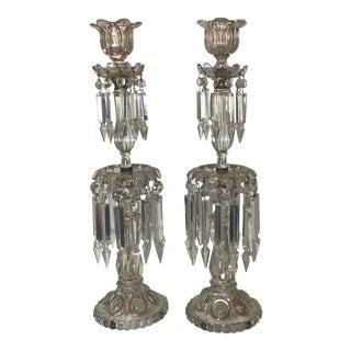 Antique Crystal Candlesticks - a Pair