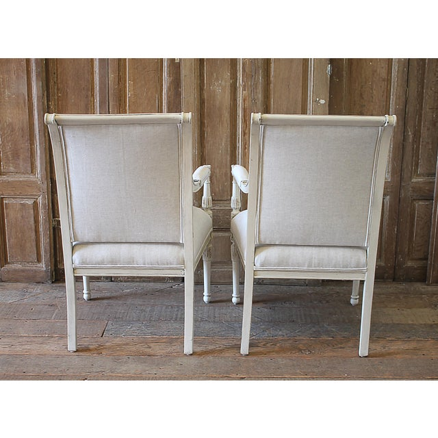 20th Century Napoleon Style Upholstered Open Arm Chairs- A Pair For Sale - Image 11 of 13