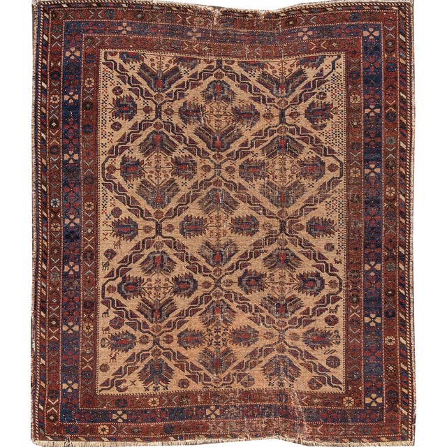 Textile Antique Square Persian Afshar Handmande Wool Rug For Sale - Image 7 of 7