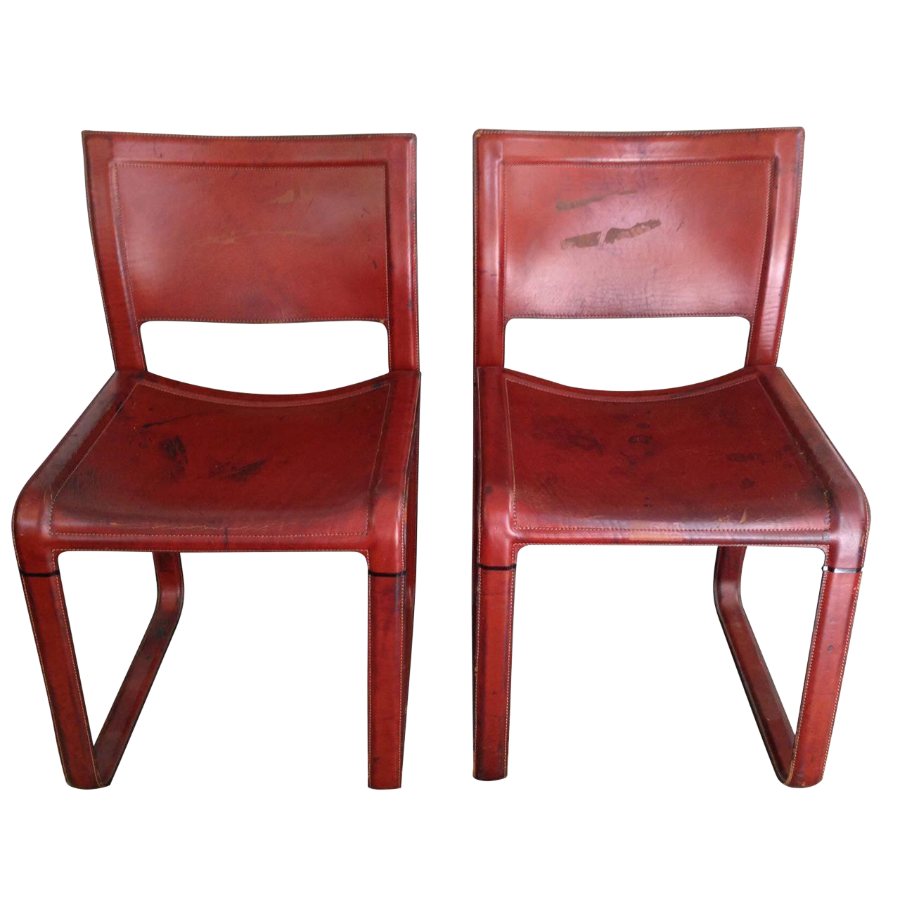 Distressed Matteo Grassi Red Stitched Leather Chairs For Sale