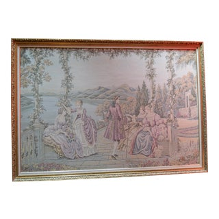 Framed Tapestry Scene of Italian Ladies at Lake Como For Sale