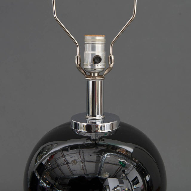 Pair of Modern Black Ceramic and Chrome Table Lamps - Image 4 of 9