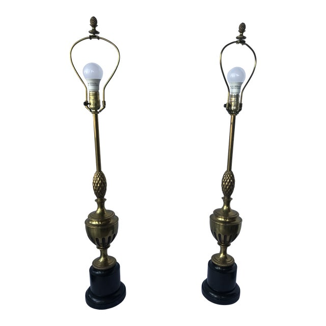 1950s Brass With Center Pineapple Lamps - a Pair For Sale