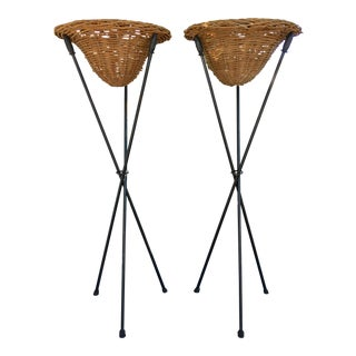 Torchiere Style Wicker & Iron Planters