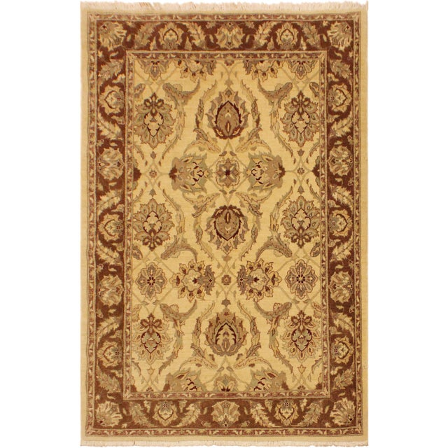 Green Kafkaz Peshawar Keeley Ivory/Brown Hand-Knotted Rug - 5'0 X 7'0 For Sale - Image 8 of 8
